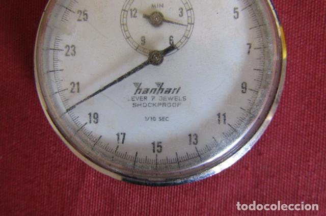 Relojes de bolsillo: Antiguo cronómetro mecánico a cuerda manual de precisión alemán Hanhart años 1960 1970 y funciona - Foto 2 - 274676578