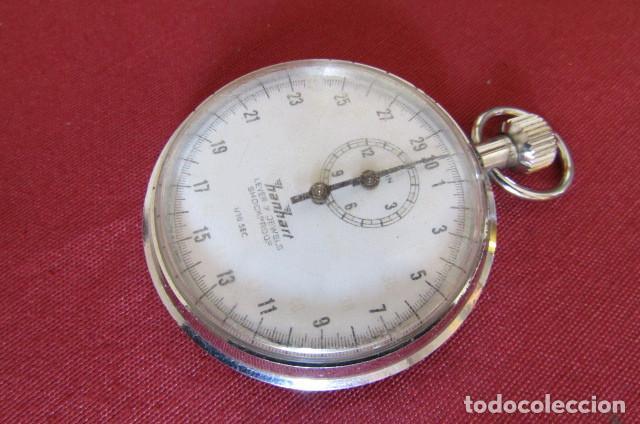 Relojes de bolsillo: Antiguo cronómetro mecánico a cuerda manual de precisión alemán Hanhart años 1960 1970 y funciona - Foto 3 - 274676578