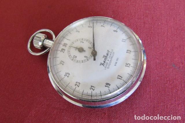 Relojes de bolsillo: Antiguo cronómetro mecánico a cuerda manual de precisión alemán Hanhart años 1960 1970 y funciona - Foto 4 - 274676578
