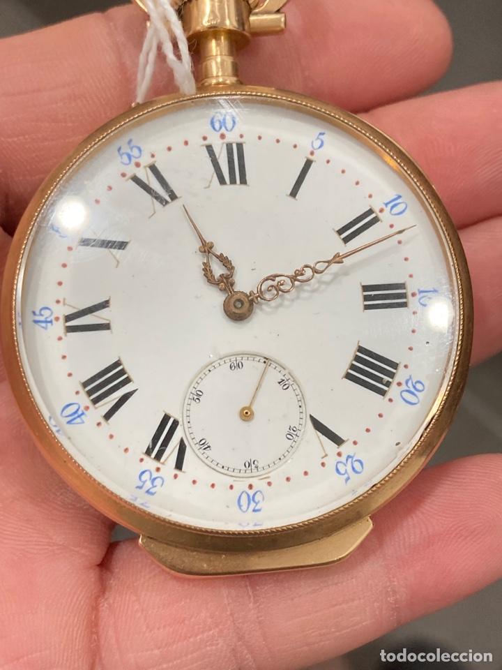 Relojes de bolsillo: Reloj de bolsillo de cilindro y espiral oro de 18 klts - Foto 2 - 275557238
