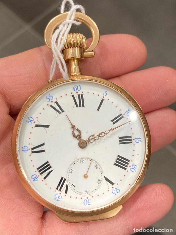 RELOJ DE BOLSILLO DE CILINDRO Y ESPIRAL ORO DE 18 KLTS (Relojes - Bolsillo Carga Manual)