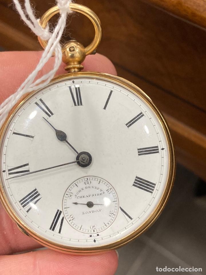 MAGNIFICO RELOJ DE BOLSILLO ORO DE 18 KLTS RELOJERO JONH BENNET, RELOJERO REAL (Relojes - Bolsillo Carga Manual)