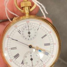Relojes de bolsillo: MAGNIFICO CRONO SUIZO ORO DE 18 KLTS. Lote 275561348