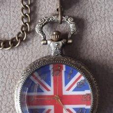Relojes de bolsillo: RELOJ CON LA BANDERA DE GRAN BRETAÑA . ROGAMOS LEER BIEN LA DESCRIPCIÓN ANTES DE PUJAR O COMPRAR.. Lote 276256283