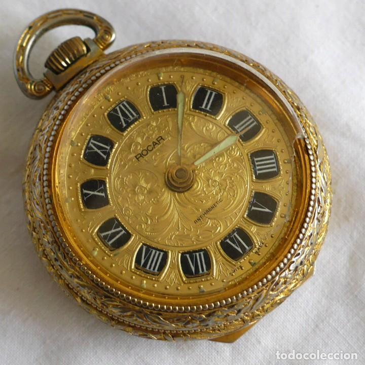 RELOJ DE BOLSILLO ROCAR, MECANISMO BREVET PARA REPARAR (Relojes - Bolsillo Carga Manual)