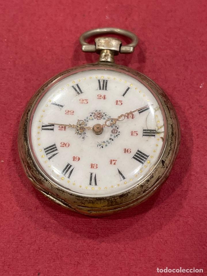 ANTIGUO RELOJ DE BOLSILLO DE PLATA. S.XIX (Relojes - Bolsillo Carga Manual)