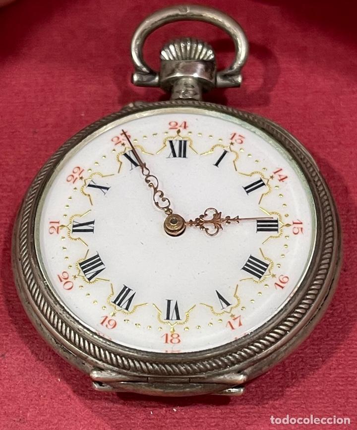 PRECIOSO RELOJ DE BOLSILLO, ANTIGUO, DE PLATA DE LEY. (Relojes - Bolsillo Carga Manual)