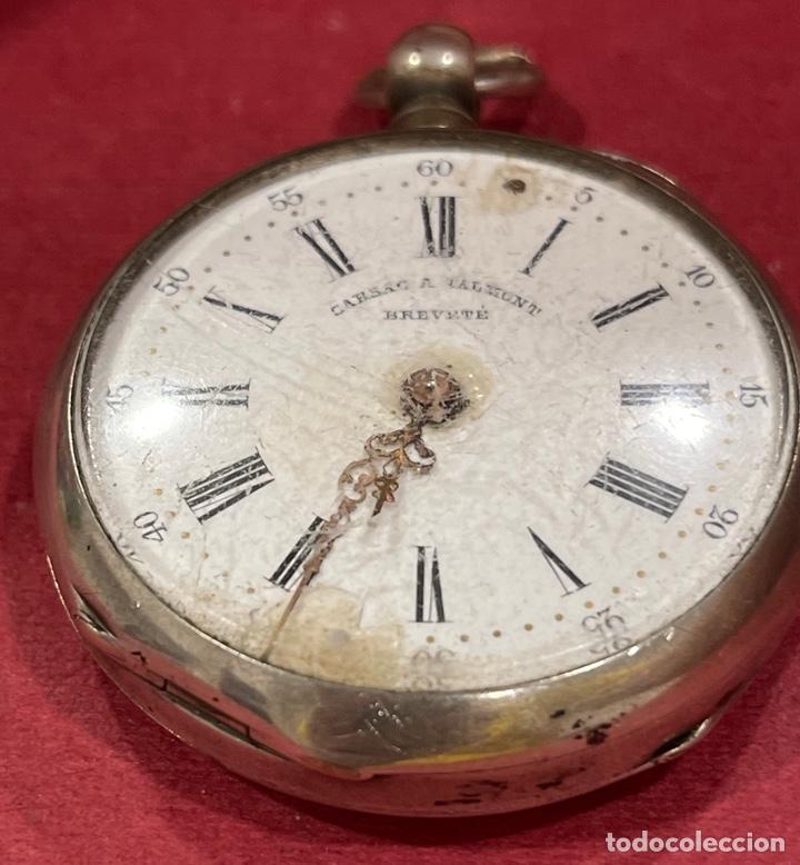 Relojes de bolsillo: Antiguo reloj de bolsillo en plata de ley, Garsac A Talmont. Brevete. - Foto 2 - 277189743