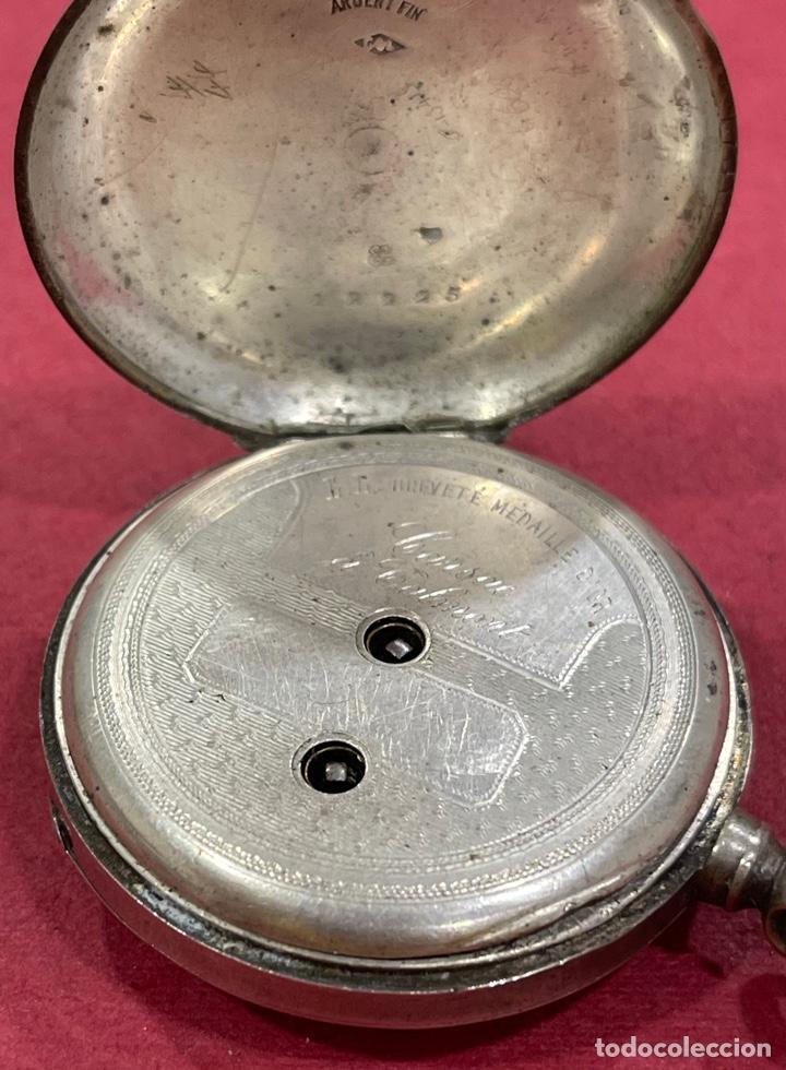 Relojes de bolsillo: Antiguo reloj de bolsillo en plata de ley, Garsac A Talmont. Brevete. - Foto 4 - 277189743