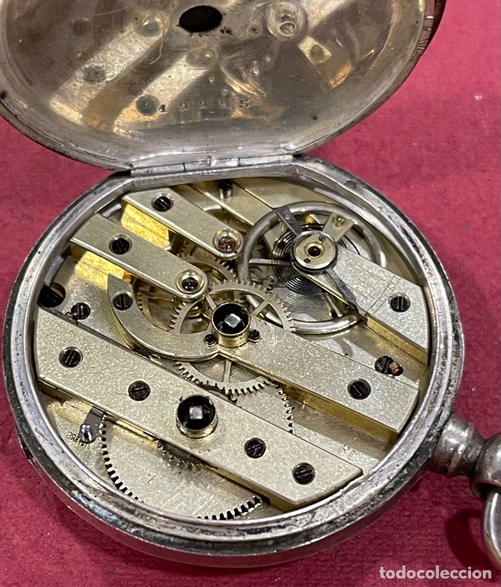 Relojes de bolsillo: Antiguo reloj de bolsillo en plata de ley, Garsac A Talmont. Brevete. - Foto 5 - 277189743