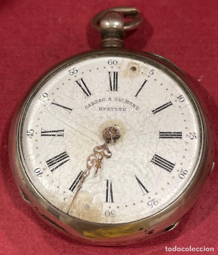 ANTIGUO RELOJ DE BOLSILLO EN PLATA DE LEY, GARSAC A TALMONT. BREVETE. (Relojes - Bolsillo Carga Manual)