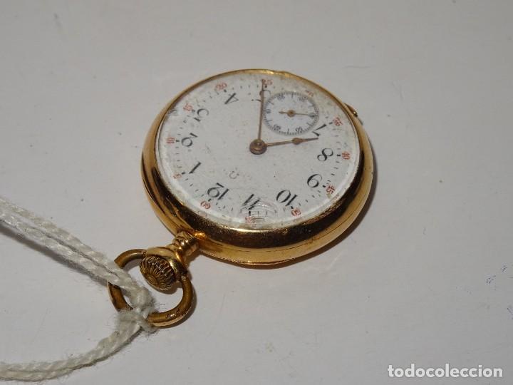 Relojes de bolsillo: ANTIGUO RELOJ - OMEGA - CARGA MANUAL DE ORO 18 KL. ESTADO DE FUNCIONAMIENTO . 4,5X3,3 CM. - Foto 4 - 278884268