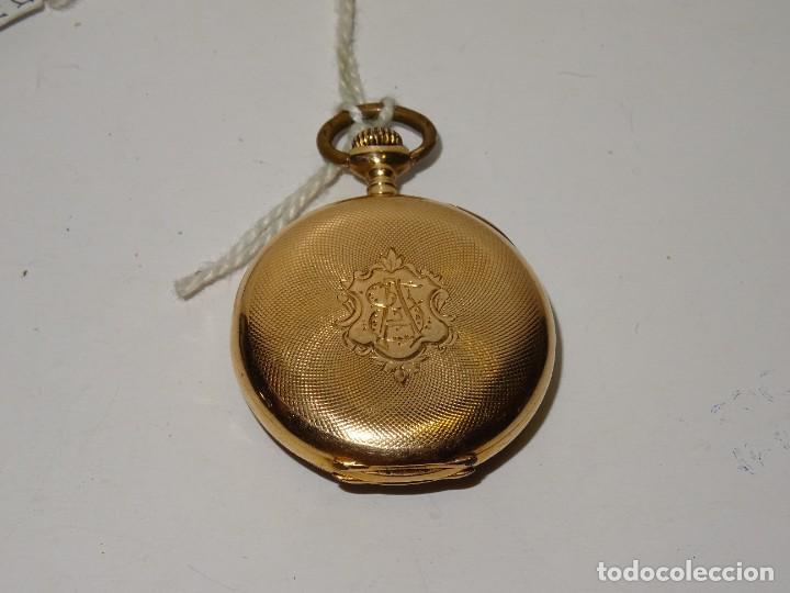 Relojes de bolsillo: ANTIGUO RELOJ - OMEGA - CARGA MANUAL DE ORO 18 KL. ESTADO DE FUNCIONAMIENTO . 4,5X3,3 CM. - Foto 5 - 278884268
