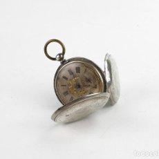 Relojes de bolsillo: THOMSON,LONDON - RELOJ DE BOLSILLO CARGA MANUAL- CAJA PLATA- ESFERA ISABELINA -NÚMEROS ROMANOS-S.XIX. Lote 280229543
