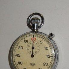Relojes de bolsillo: CRONOGRAFO ANTIGUO - HEUER - 7,5X5,3 CM. ( PARADO ) VER FOTG. CAJA DE ACERO. Lote 280515308