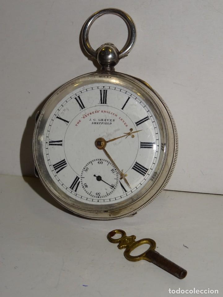 ANTIGUO RELOJ DE PLATA SEMI-CATALINO ,CUERDA DE LLAVE FUNCIONANDO THE EXPRESS ENGLISH LEVER (Relojes - Bolsillo Carga Manual)