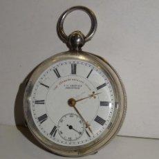 Relojes de bolsillo: ANTIGUO RELOJ DE PLATA SEMI-CATALINO ,CUERDA DE LLAVE FUNCIONANDO THE EXPRESS ENGLISH LEVER. Lote 280516083
