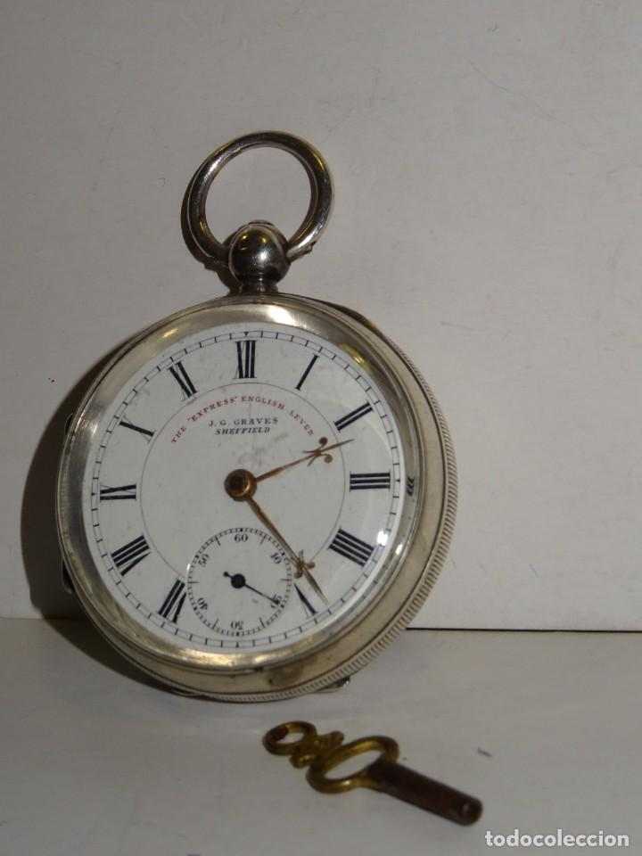 Relojes de bolsillo: ANTIGUO RELOJ DE PLATA SEMI-CATALINO ,CUERDA DE LLAVE FUNCIONANDO THE EXPRESS ENGLISH LEVER - Foto 2 - 280516083