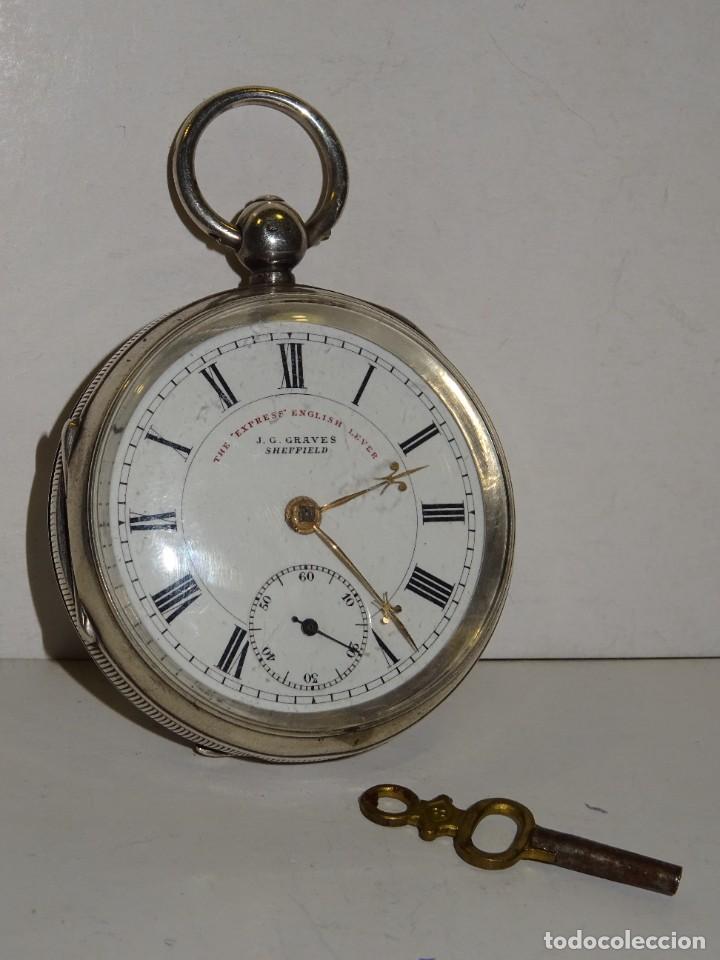 Relojes de bolsillo: ANTIGUO RELOJ DE PLATA SEMI-CATALINO ,CUERDA DE LLAVE FUNCIONANDO THE EXPRESS ENGLISH LEVER - Foto 3 - 280516083