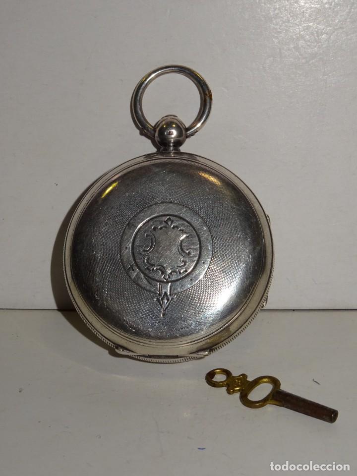 Relojes de bolsillo: ANTIGUO RELOJ DE PLATA SEMI-CATALINO ,CUERDA DE LLAVE FUNCIONANDO THE EXPRESS ENGLISH LEVER - Foto 4 - 280516083