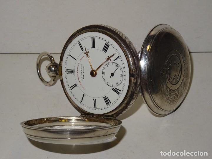 Relojes de bolsillo: ANTIGUO RELOJ DE PLATA SEMI-CATALINO ,CUERDA DE LLAVE FUNCIONANDO THE EXPRESS ENGLISH LEVER - Foto 5 - 280516083