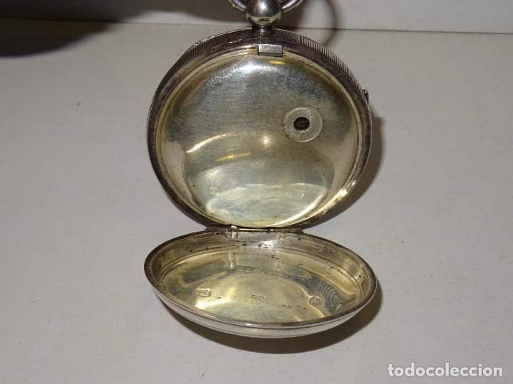 Relojes de bolsillo: ANTIGUO RELOJ DE PLATA SEMI-CATALINO ,CUERDA DE LLAVE FUNCIONANDO THE EXPRESS ENGLISH LEVER - Foto 6 - 280516083