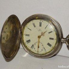 Relojes de bolsillo: ANTIGUO RELOJ OMEGA DE PLATA 3 TAPAS FUNCIONANDO .7X5 CM. ESFERA DE PORCELANA. Lote 280516688