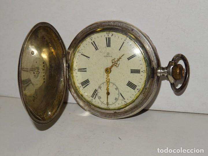 Relojes de bolsillo: ANTIGUO RELOJ OMEGA DE PLATA 3 TAPAS FUNCIONANDO .7X5 CM. ESFERA DE PORCELANA - Foto 2 - 280516688