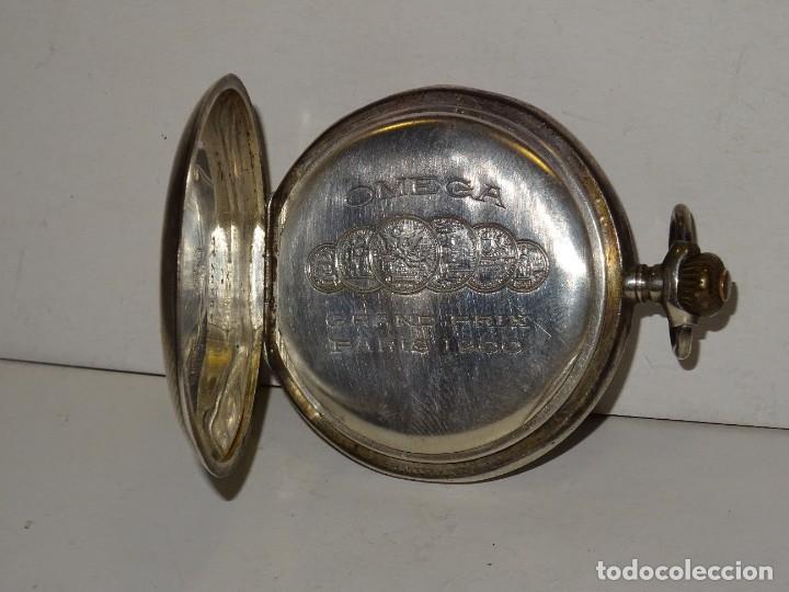 Relojes de bolsillo: ANTIGUO RELOJ OMEGA DE PLATA 3 TAPAS FUNCIONANDO .7X5 CM. ESFERA DE PORCELANA - Foto 4 - 280516688