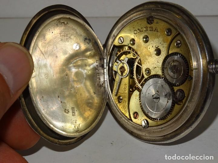 Relojes de bolsillo: ANTIGUO RELOJ OMEGA DE PLATA 3 TAPAS FUNCIONANDO .7X5 CM. ESFERA DE PORCELANA - Foto 6 - 280516688