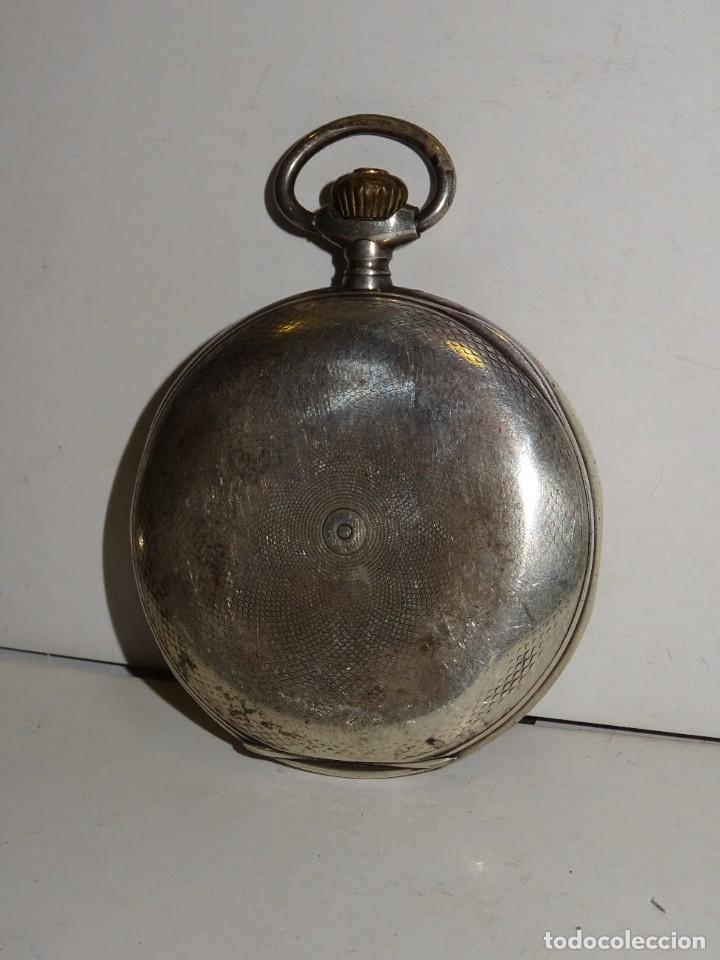 Relojes de bolsillo: ANTIGUO RELOJ OMEGA DE PLATA 3 TAPAS FUNCIONANDO .7X5 CM. ESFERA DE PORCELANA - Foto 7 - 280516688