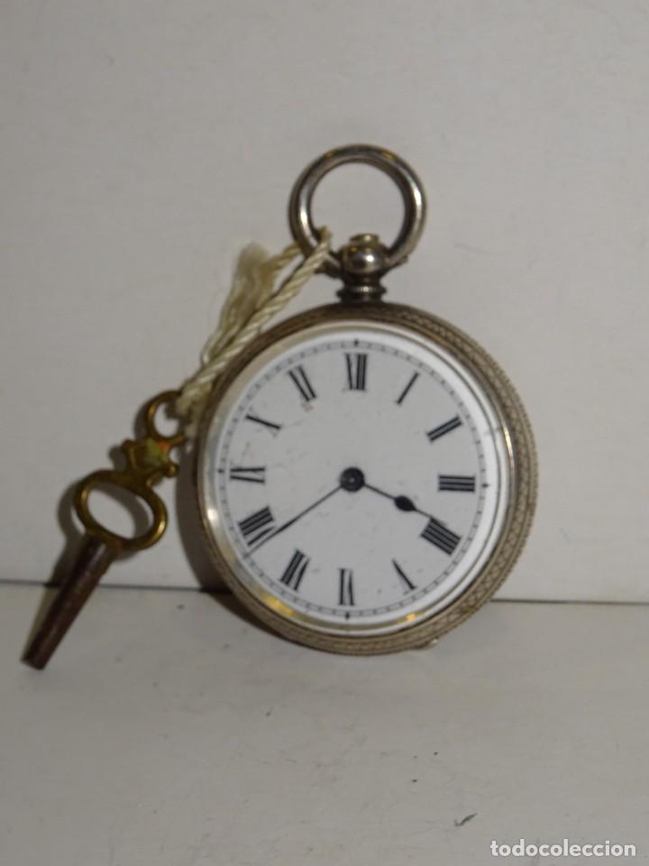 Relojes de bolsillo: ANTIGUO RELOJ DE PLATA SEMICATALINO DE LLAVE ,ESFERA ESMALTADA PERFECTA 5,5X4cm - Foto 2 - 280517498