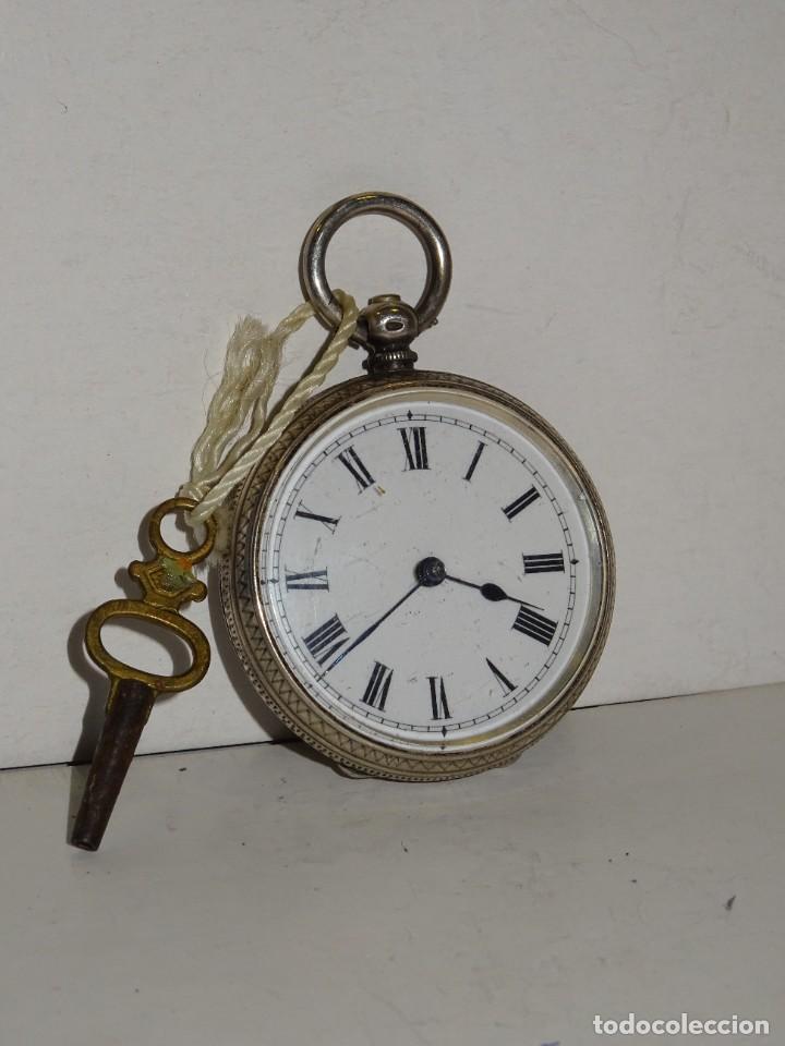 Relojes de bolsillo: ANTIGUO RELOJ DE PLATA SEMICATALINO DE LLAVE ,ESFERA ESMALTADA PERFECTA 5,5X4cm - Foto 3 - 280517498