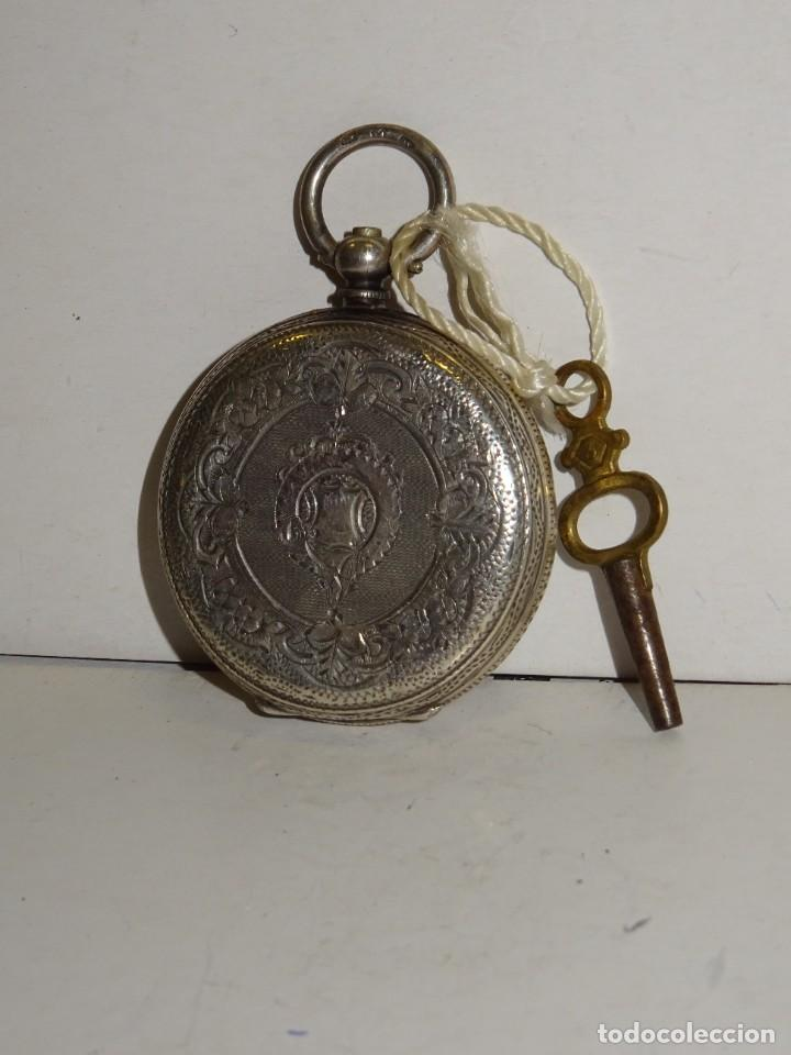 Relojes de bolsillo: ANTIGUO RELOJ DE PLATA SEMICATALINO DE LLAVE ,ESFERA ESMALTADA PERFECTA 5,5X4cm - Foto 4 - 280517498