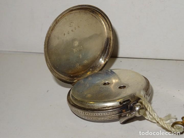 Relojes de bolsillo: ANTIGUO RELOJ DE PLATA SEMICATALINO DE LLAVE ,ESFERA ESMALTADA PERFECTA 5,5X4cm - Foto 5 - 280517498