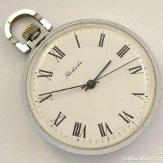 Relojes de bolsillo: PRECIOSO Y ELEGANTE RELOJ DE BOLSILLO RUSO RAKETA DE LOS AÑOS 60/70 CON BARCO EN PARTE TRASERA. Lote 283378253