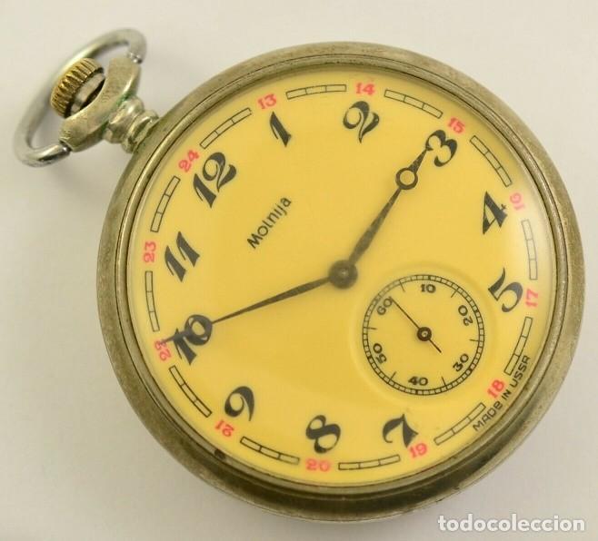 ANTIGUO RELOJ DE BOLSILLO RUSO DE LA MARCA MOLNIJA AÑOS 60 18 RUBIES CON MANADA DE LOBOS EN RELIEVE (Relojes - Bolsillo Carga Manual)