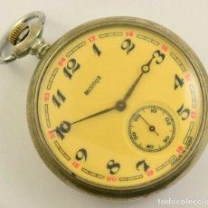 Relojes de bolsillo: ANTIGUO RELOJ DE BOLSILLO RUSO DE LA MARCA MOLNIJA AÑOS 60 18 RUBIES CON MANADA DE LOBOS EN RELIEVE. Lote 283379398