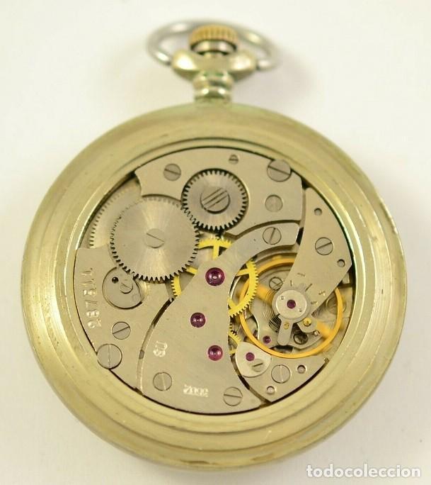 Relojes de bolsillo: ANTIGUO RELOJ DE BOLSILLO RUSO DE LA MARCA MOLNIJA AÑOS 60 18 RUBIES CON MANADA DE LOBOS EN RELIEVE - Foto 4 - 283379398
