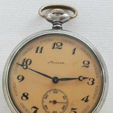 Relojes de bolsillo: ANTIGUO RELOJ DE BOLSILLO RUSO DE LA MARCA MOLNIJA AÑOS 60 CON SILUETA DE IGOR DIATLOV MONTES URALES. Lote 283508728