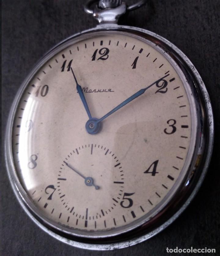 Relojes de bolsillo: ANTIGUO RELOJ DE BOLSILLO RUSO DE LA MARCA MOLNIJA DE LOS AÑOS 60 - Foto 2 - 283513618