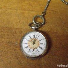 Relojes de bolsillo: ANTIGUO RELOJ BOLSILLO EN PLATA AÑO 1880 - FUNCIONA- LOTE 259-33-CON LEONTINA DE EPOCA. Lote 284526763