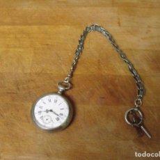 Relojes de bolsillo: ANTIGUO RELOJ BOLSILLO EN PLATA AÑO 1880 - FUNCIONA- LOTE 259-33-CON LEONTINA DE EPOCA. Lote 284526918