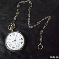 Relojes de bolsillo: ANTIGUO RELOJ BOLSILLO EN PLATA-TOQUES ORO ROSA-LEONTINA DE PLATA -LOTE 259-34-FUNCIONA. Lote 284659708