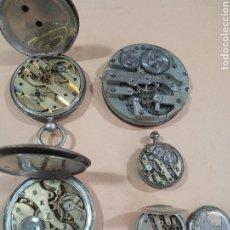 Relojes de bolsillo: LOTE DE 5 RELOJES ANTIGUOS DE PLATA DE BOLSILLO NO FUNCIONAN PARA REVISAR. Lote 285088843