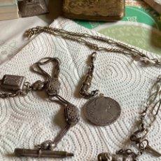 Relojes de bolsillo: LOTE DE 4 LEONTINAS ANTIGUAS. Lote 285146613