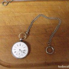 Relojes de bolsillo: MUY ANTIGUO RELOJ BOLSILLO PLATA PUNZONADA-AÑO 1880- FUNCIONA BIEN-CON LEONTINA DE EPOCA-LOTE 259-2. Lote 286157753