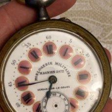 Relojes de bolsillo: MAGNIFICO RELOJ DE BOLSILLO TIPO GOLIAT, FUNCIONANDO, HIERRO PAVONADO Y ESMALTE. Lote 287796128