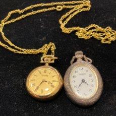 Relojes de bolsillo: LOTE DE 2 RELOJES DE BOLSILLO, CUARZO. Lote 288163038