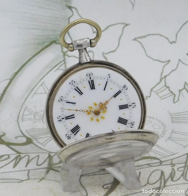 DE PLATA- BONITO RELOJ DE BOLSILLO-3 TAPAS-CIRCA 1850-1870-FUNCIONANDO (Relojes - Bolsillo Carga Manual)